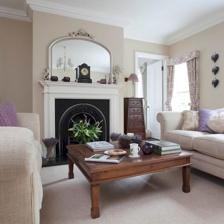 Neutral Living Room With Traditional Fireplace In 2019: 40+ Comfy Neutral Living Room Decorating Inspirations
